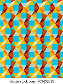 Seamless texture with colored triangles and squares. Colorful retro mosaic