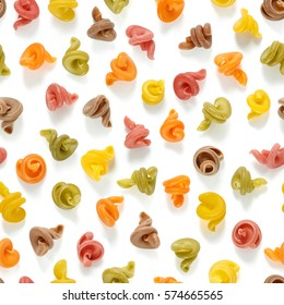 seamless texture consisting of multi-colored pasta