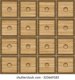 Seamless texture of the facade of the commode for archive. Square wooden drawers.