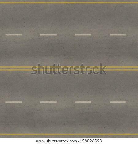 d04e9127a Seamless texture of grey, slightly worn road with yellow and white stripes.