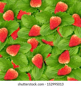 Seamless texture of juicy strawberries