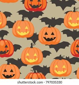 Seamless texture pattern of Halloween pumpkins and bats