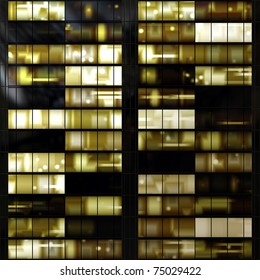 Seamless texture resembling illuminated windows in a building at night