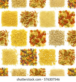 seamless texture of variety Pasta squares isolated on a white background