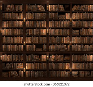 Seamless texture (vertically and horizontally). Vintage Books. Two-storied Bookshelf background. Mysterious library with candle lighting.