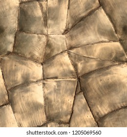 Seamless texture of vintage brass plates welded in one piece. Wroclaw. Poland.