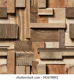 Seamless texture of wooden blocks in collage background.