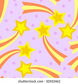 Seamless, tileable and fully repeatable raster illustration of colorful shooting stars