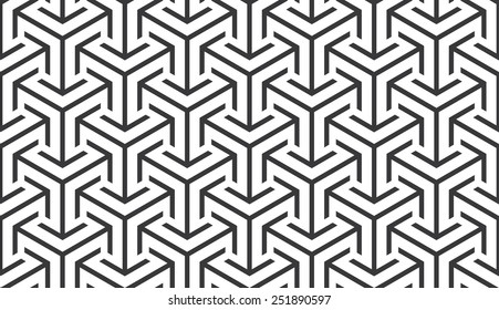 Seamless trilateral arrows isometric pattern