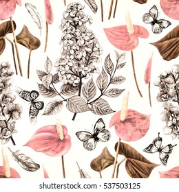 Seamless tropical flowers pattern with butterflies and feathers. Plant and leaf  background in vintage botanical sketch style