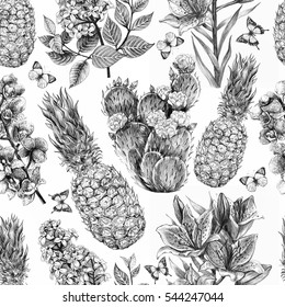 Seamless tropical flowers pattern with butterflies and pineapple. Cactus, orchid, lilac, lily flower and leaf background in vintage botanical sketch style