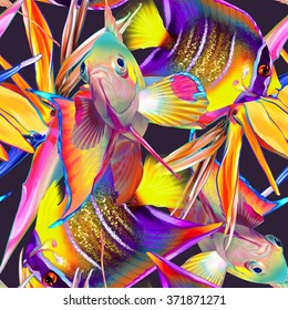 Seamless tropical pattern with fish and strelitzia, abstract exotic texture, summer ornament
