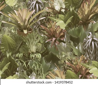Seamless tropical pattern with leaves of palm trees, budding, succulents. Botanical background.