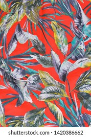 Seamless tropical pattern with palm leaves for summer sundress clothes fabric