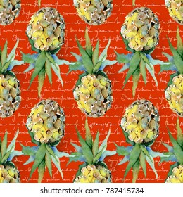 Seamless tropical pattern with pineapples.