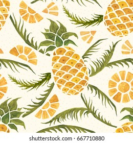 Seamless tropical pattern with pineapples and palm leaves. Hand drawn, hand painted watercolor illustration.