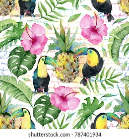 Seamless tropical pattern with pineapples,  toucan birds palm leaves and flowers.