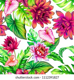 seamless tropical pattern, watercolor peony, calla, palm, monstera, banana palm. Aloha style design. happy floral pattern for fashion, interior, stationery
