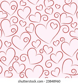 Seamless valentine pattern with red heart.