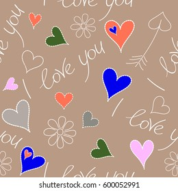 Seamless Valentines day pattern with hearts and chamomile in orange and gray colors. Creative, luxury style for print cards, cloth, wrapper, cover, gift, banner, poster, greeting, invitation.