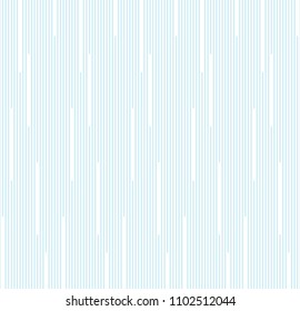 Seamless vertical line random vector. Design stripe white on light blue.  Design print for textile, fabric, wallpaper, background. Set 1