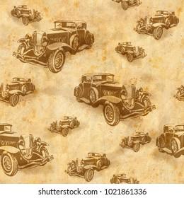 Seamless vintage car background. Retro texture. Hand-drawn.