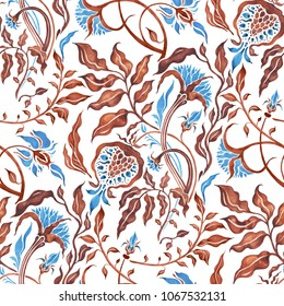 Seamless vintage pattern of Abstract Flowers. Watercolor Hand Drawn background