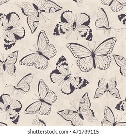 Seamless vintage pattern with butterflies. Raster illustration. Perfect for greetings, invitations, manufacture wrapping paper, textile, wedding and web design.