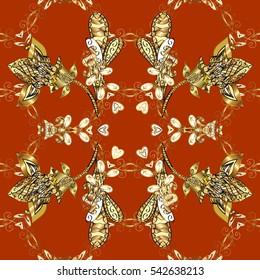 Seamless vintage pattern on red and brown background with golden elements. New Year, Christmas, Snowflake. raster.