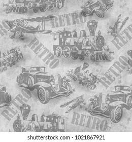 Seamless vintage transport  background. Retro texture. Hand-drawn.