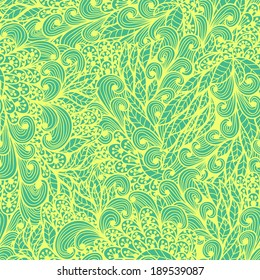 Seamless vintage yellow and green doodle floral pattern. Raster version