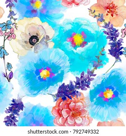 Seamless wallpaper with Beautiful summer flowers, watercolor illustration. Gentle colors. Female pattern. Handmade.