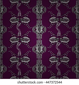 Seamless wallpaper pattern in vintage style on lilac background.