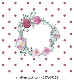Seamless watercolor background. Floral wallpaper. Elegant aquarelle peony, ranunculus, cranberries, roses on white.