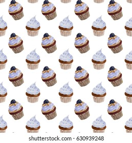 Seamless Watercolor Blue Cupcakes Pattern