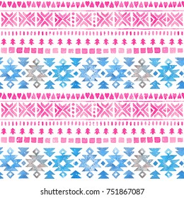 Seamless Watercolor Ethnic Tribal Boho Pattern. Hand-painted winter texture for Fabric, Wrapping Paper, Greeting, scrapbooking and invitation cards