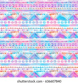 Seamless Watercolor Ethnic Tribal Ornamental Pattern. Hand-painted bright texture for Fabric, Scrapbooking, Wrapping Paper, Greeting and invitation card Design Template.