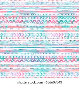 Seamless Watercolor Ethnic Tribal Ornamental Pattern. Hand-painted bright boho texture for Fabric, Scrapbooking, Wrapping Paper, Greeting and invitation card Design Template.