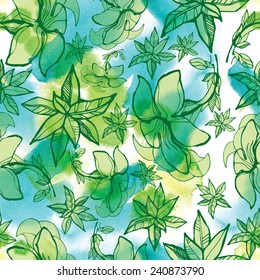 """Seamless watercolor floral pattern with leafs (From my big """"Seamless collection"""")"""
