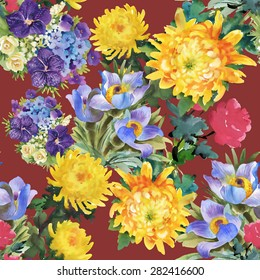 Seamless watercolor floral pattern on vinous background with summer garden flowers