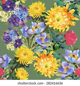 Seamless watercolor floral pattern on green background with summer garden flowers