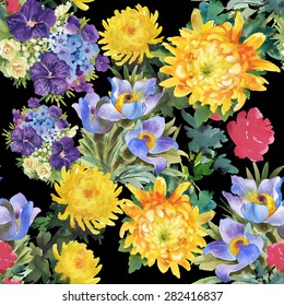 Seamless watercolor floral pattern on black background with summer garden flowers