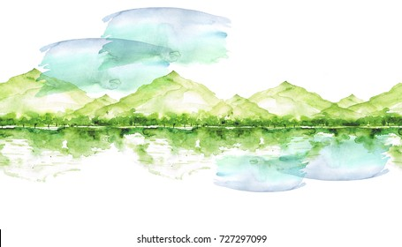 Seamless watercolor linear pattern, border. green mountain landscape, a river, a forest and a reflection in the water, silhouette of trees. On white isolated background. Vintage drawing.