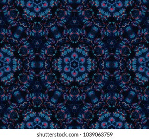 Seamless watercolor mandalas tile pattern. Vintage decorative element with mandala. Hand drawn flores background. Islam, arabic indian, floral, ottoman motifs. Perfect for printing on fabric, textile