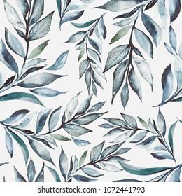 Seamless watercolor pattern Botanical background