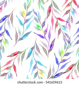 Seamless watercolor pattern with a bright floral print. Bright brunches with leaves.