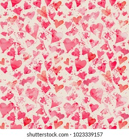 Seamless watercolor pattern with bright red hearts and splashes of paint. Hand-painted romantic texture for Valentine's Day, newborns, packaging, wedding, birthday, mother's day