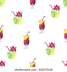 Seamless watercolor pattern with cocktail