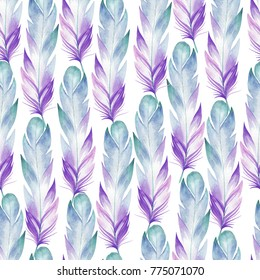 Seamless watercolor pattern collected from blue bird feathers