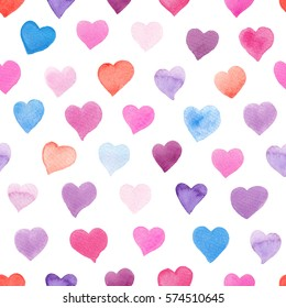 Seamless watercolor pattern with colorful hearts. Pink, red, purple, blue tints. Hand-painted romantic texture for packaging, wedding, birthday, Valentine's Day, mother's day
